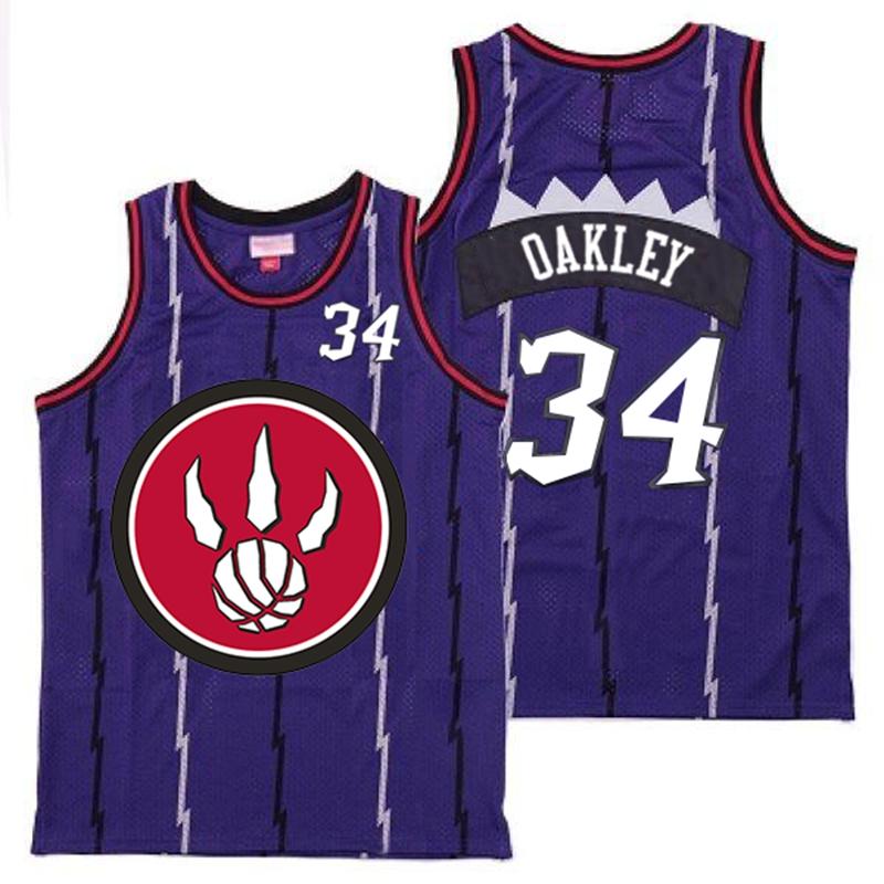 Raptors 34 Charles Oakley Purple Red Big Logo Retro Jersey