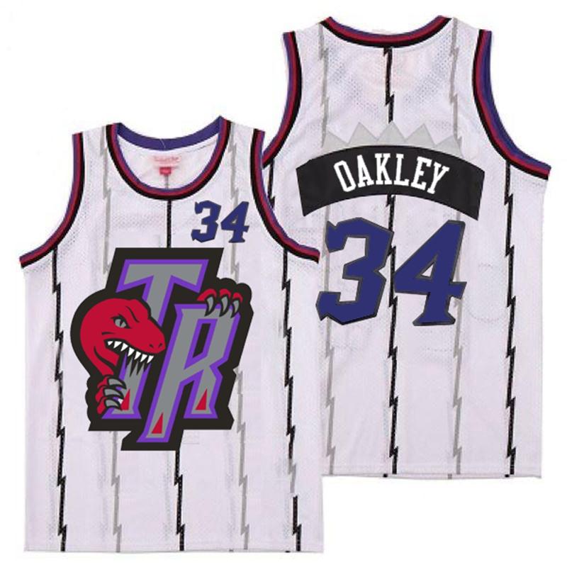 Raptors 34 Charles Oakley White Big Gray TR Logo Retro Jersey