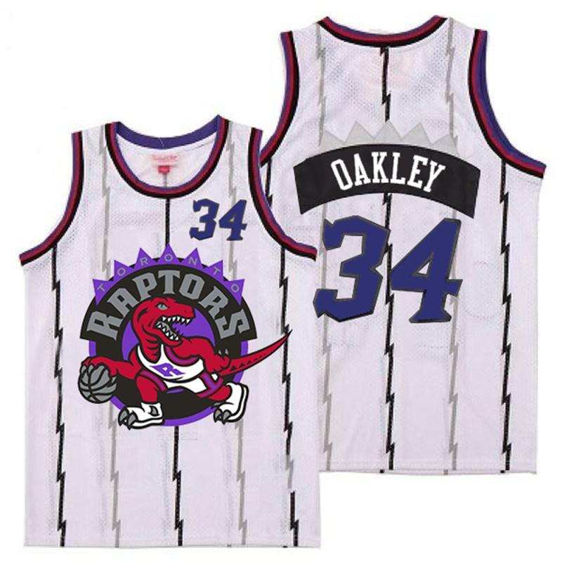 Raptors 34 Charles Oakley White Big Logo Retro Jersey