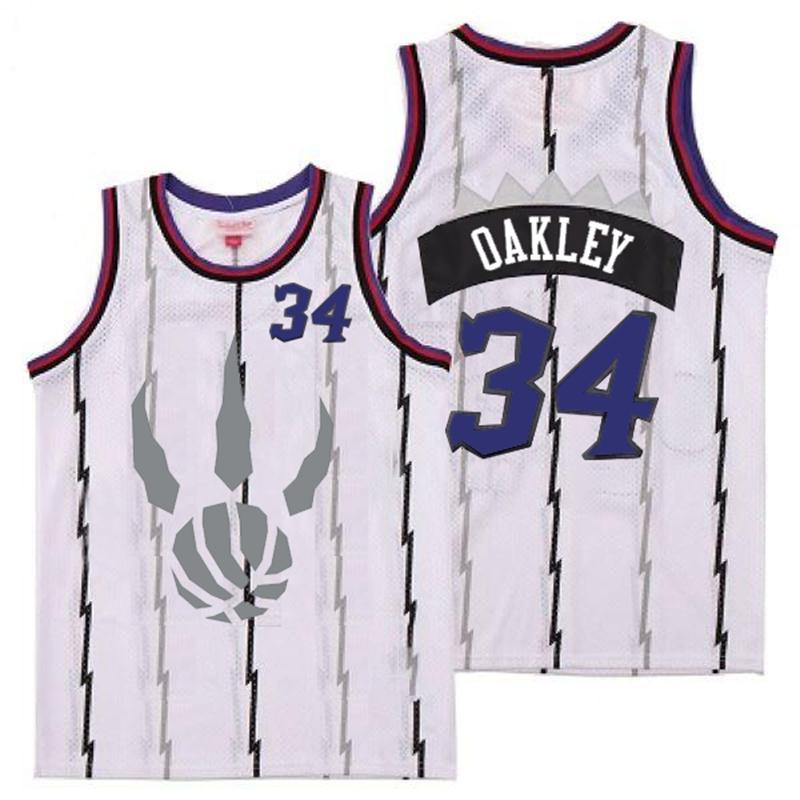 Raptors 34 Charles Oakley White Gray Logo Retro Jersey