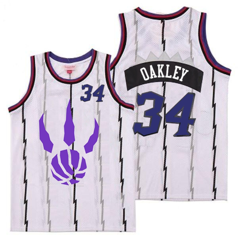 Raptors 34 Charles Oakley White Logo Retro Jersey