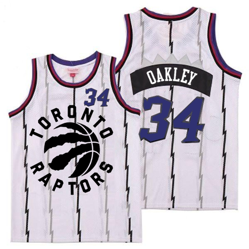 Raptors 34 Charles Oakley White Retro Jersey
