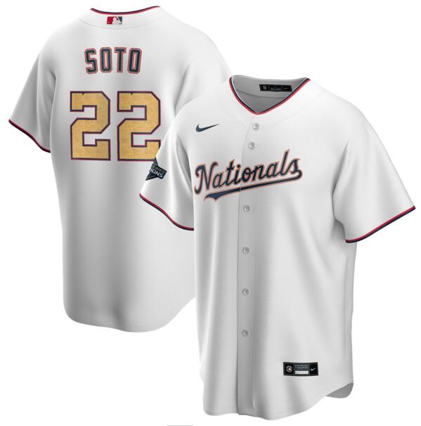 Nationals 22 Juan Soto White Gold Nike 2020 Gold Program Cool Base Jersey