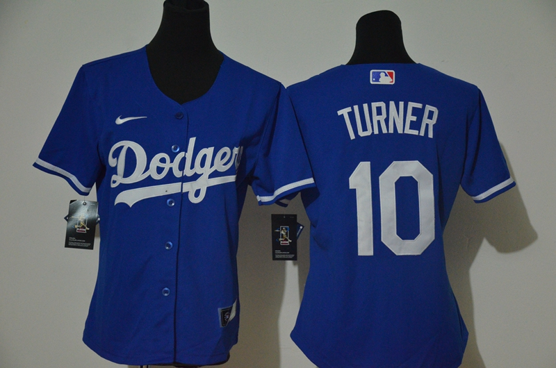 Dodgers 10 Justin Turner Royal Women 2020 Nike Cool Base Jersey