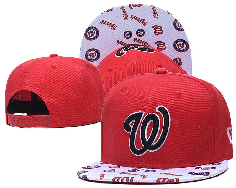 Nationals Team Logo Red White Adjustable Hat TX