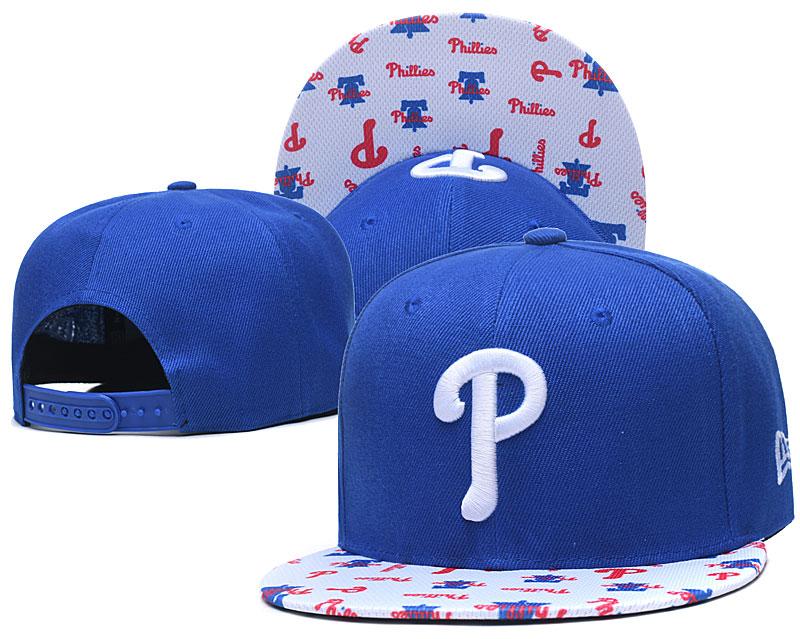 Phillies Team Logo Royal White Adjustable Hat TX