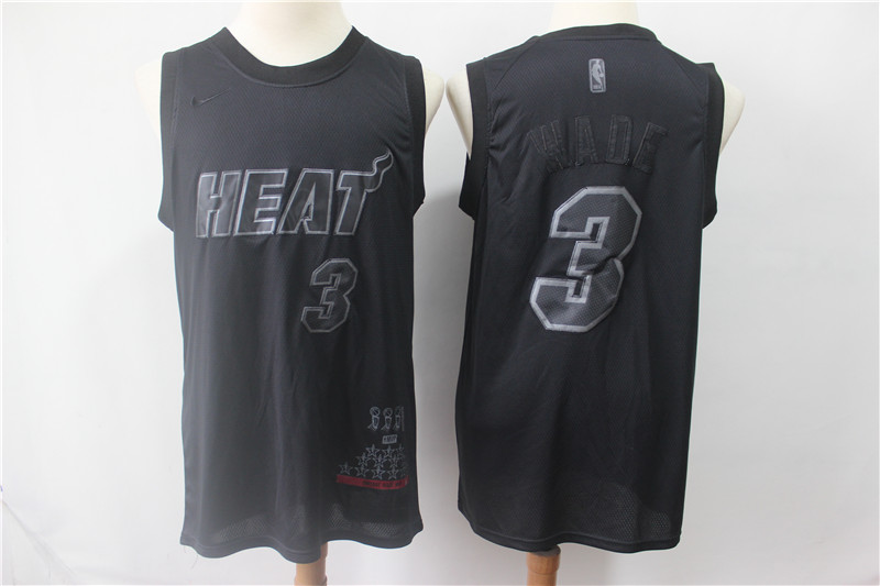 Heat 3 Dwyane Wade Black Nike Swingman MVP Jersey