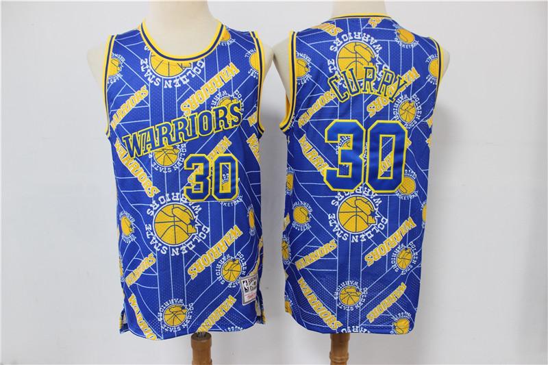 Warriors 30 Stephen Curry Blue Tear Up Pack Hardwood Classics Swingman Jersey