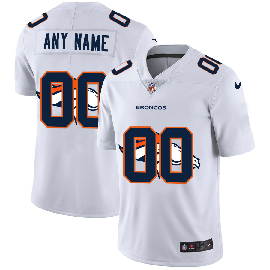 Nike Broncos Customized White Team Big Logo Vapor Untouchable Limited Jersey