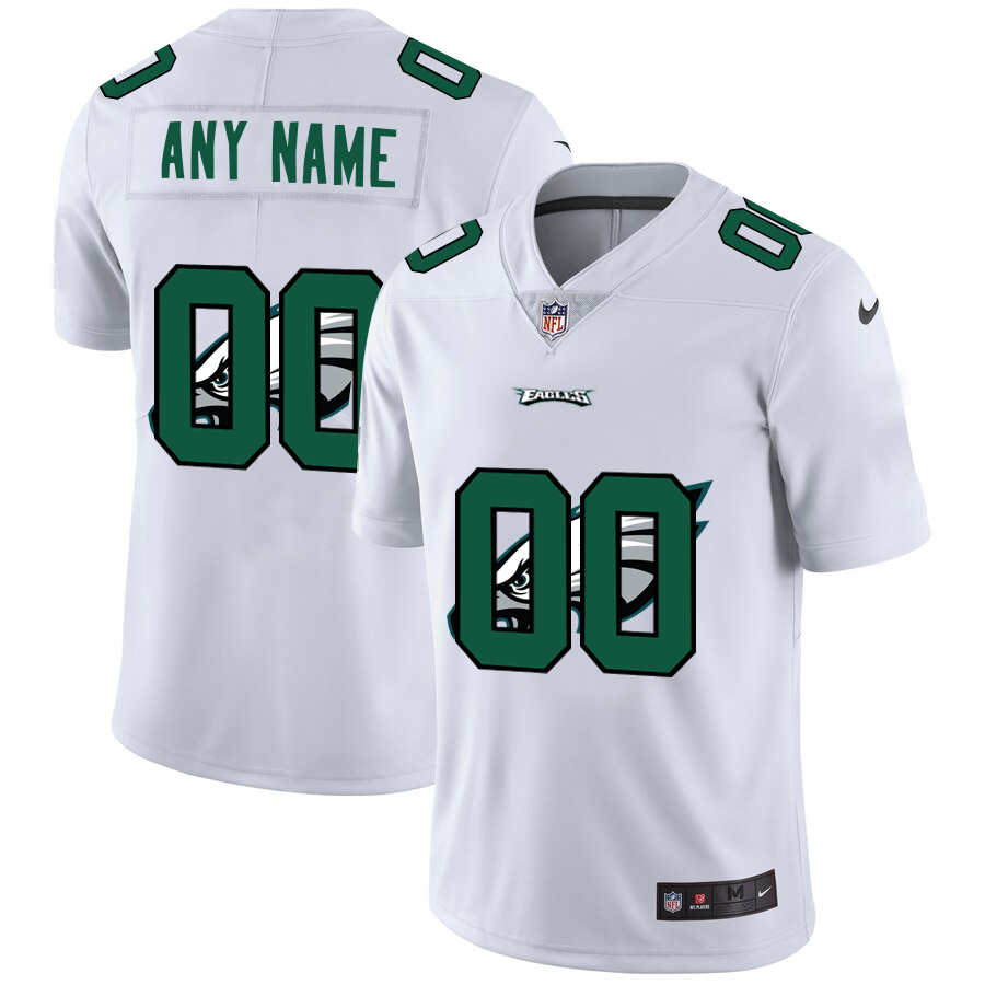Nike Eagles Customized White Team Big Logo Vapor Untouchable Limited Jersey