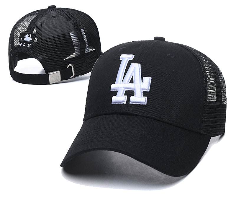 Dodgers Team White Logo Black Peaked Adjustable Hat TX