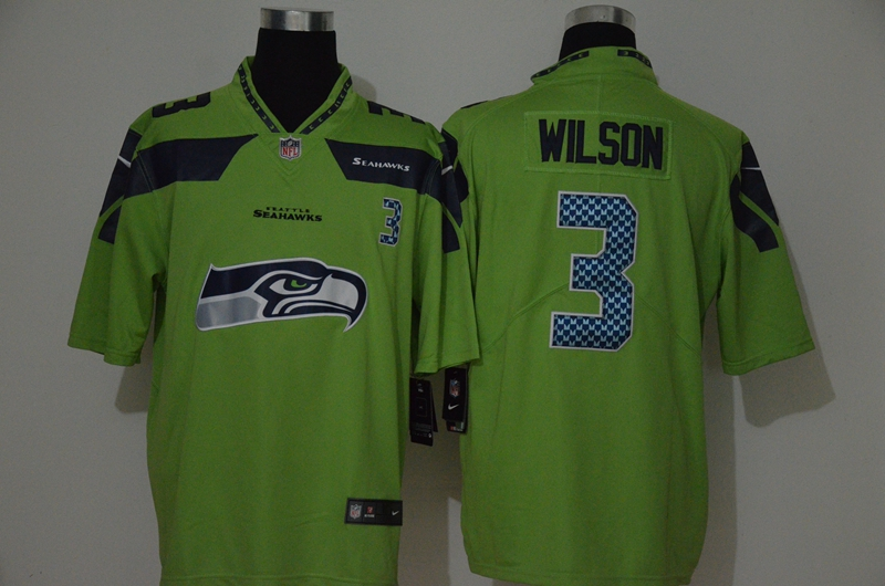 Nike Seahawks 3 Russell Wilson Green Team Big Logo Vapor Untouchable Limited Jersey