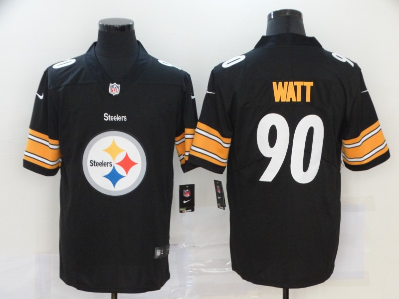 Nike Steelers 90 T.J. Watt Black Team Big Logo Vapor Untouchable Limited Jersey