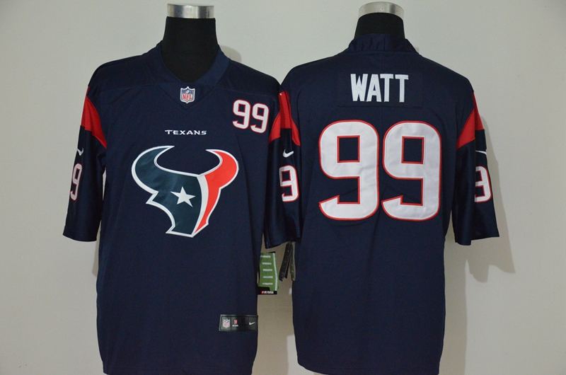 Nike Texans 99 J.J. Watt Navy Team Big Logo Number Vapor Untouchable Limited Jersey