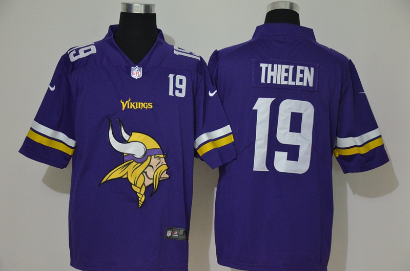 Nike Vikings 19 Adam Thielen Purple Team Big Logo Number Vapor Untouchable Limited Jersey