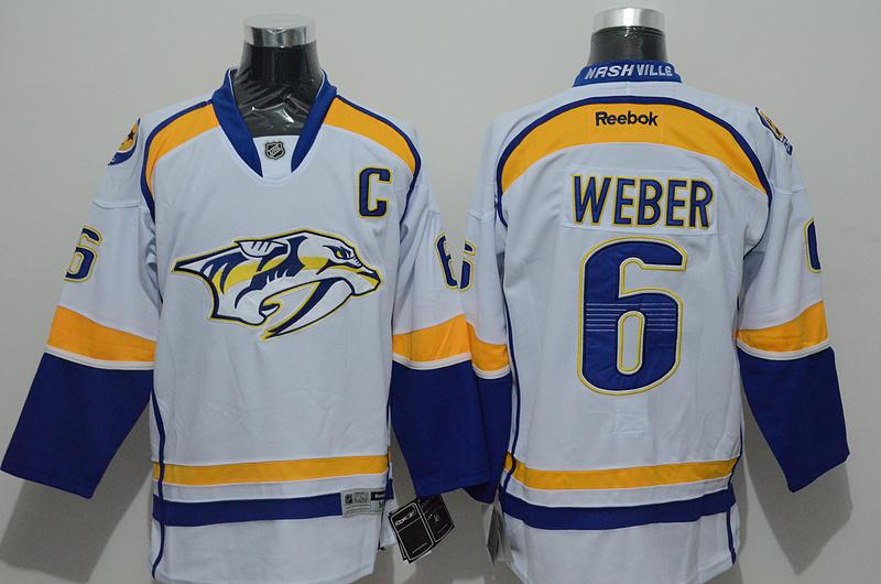 Predators 6 Weber White Reebok Jersey