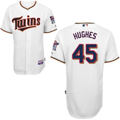 Twins 45 Hughes White Cool Base Jerseys