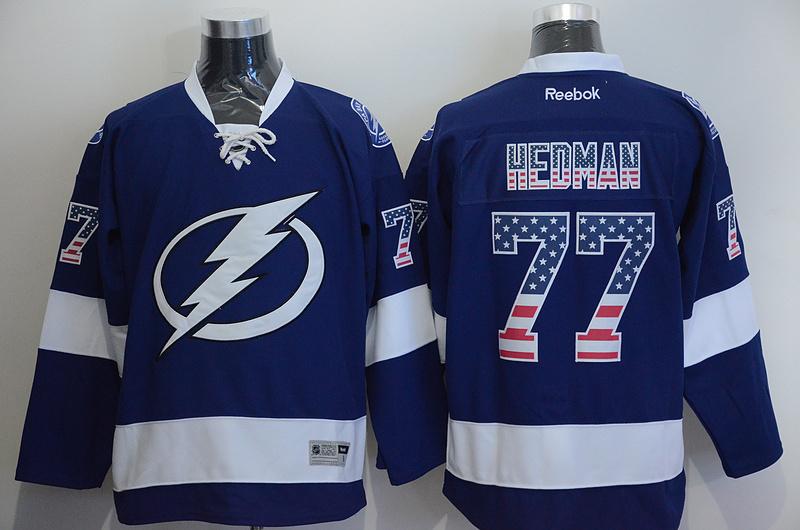 Lightning 77 Hedman Blue US Flag Reebok Jersey