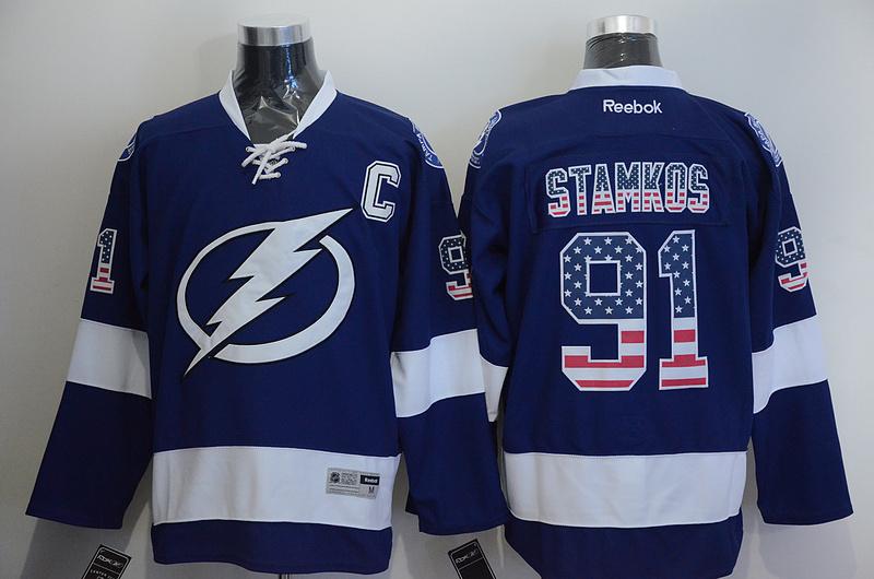 Lightning 91 Stamkos Blue US Flag Reebok Jersey