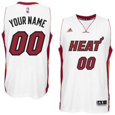 Miami Heat White Men's Customize New Rev 30 Jersey