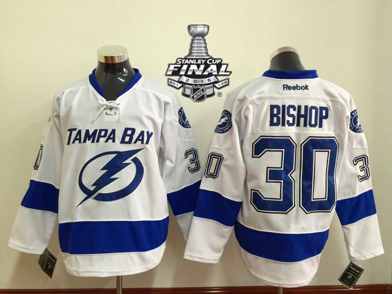 Lightning 30 Bishop White 2015 Stanley Cup Jersey