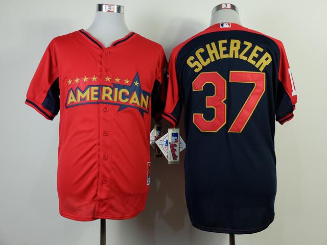 American League Tigers 37 Scherger Red 2014 All Star Jerseys