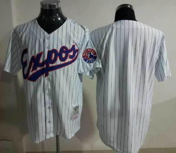 Expos Blank White(black stripe)Jerseys