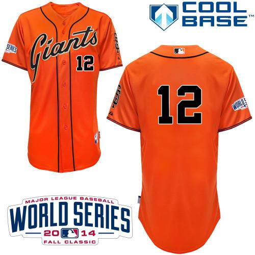 Giants 12 Panik Orange 2014 World Series Cool Base Jerseys