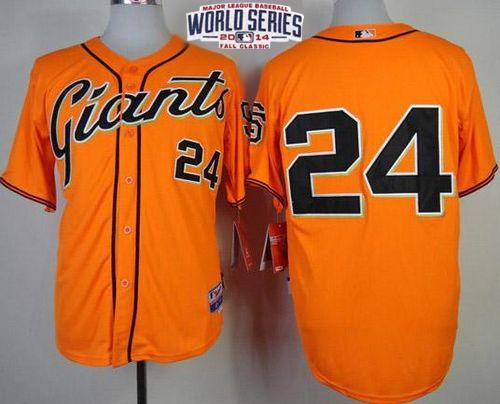 Giants 24 Mays Orange 2014 World Series Cool Base Jerseys