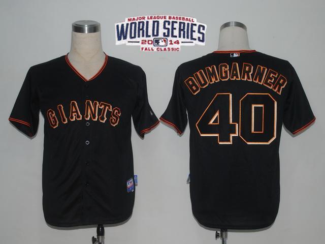 Giants 40 Bumgarner Black 2014 World Series Cool Base Jerseys