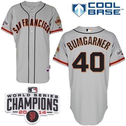 Giants 40 Bumgarner Grey 2014 World Series Champions Cool Base Jerseys
