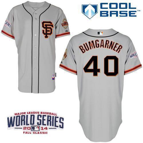 Giants 40 Bumgarner Grey 2014 World Series Cool Base Road 2 Jerseys