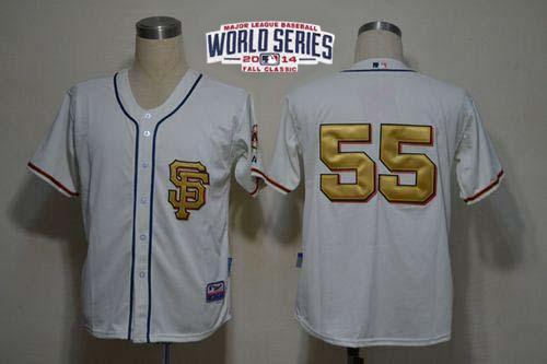 Giants 55 Lincecum White Gold Number 2014 World Series Cool Base Jerseys