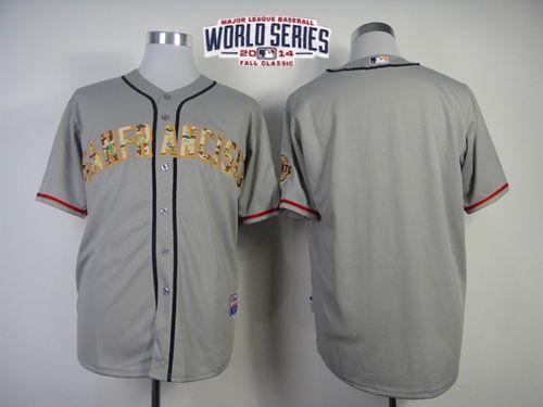 Giants Blank Grey 2014 World Series Cool Base USMC Jerseys