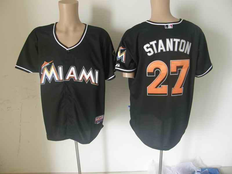 Marlins 27 STANTON Black jerseys