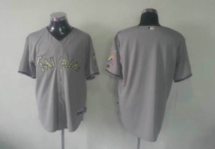 Marlins Blank Grey camo number Jerseys