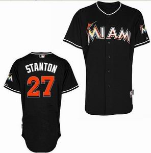 Miami Marlins 27 Stanton black Cool Base Jerseys