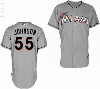 Miami Marlins 55 Johnson grey Jerseys