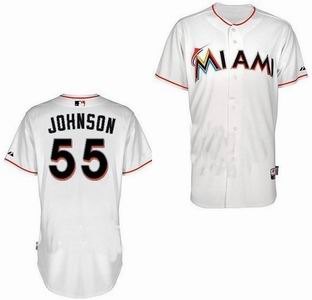 Miami Marlins 55 Johnson white Jerseys