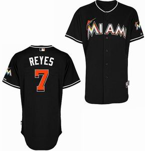 Miami Marlins 7 Reyes black Cool Base Jerseys