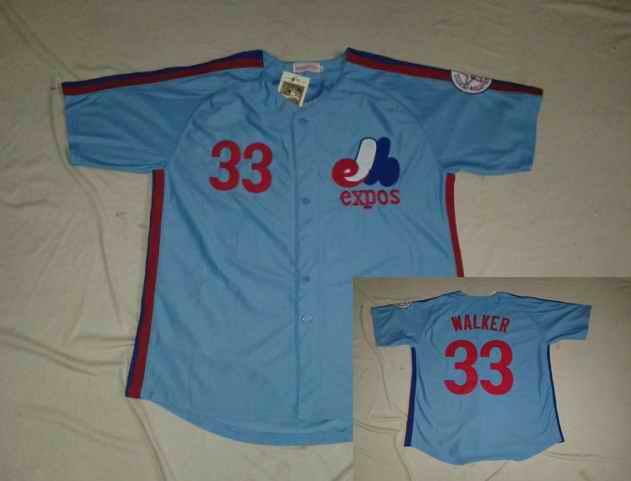 Montreal Expos 33 WALKER Light Blue Jerseys