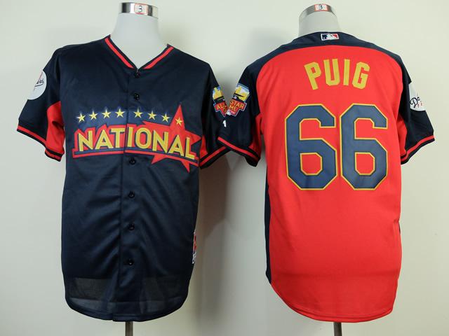 National League Dodgers 66 Puig Blue 2014 All Star Jerseys