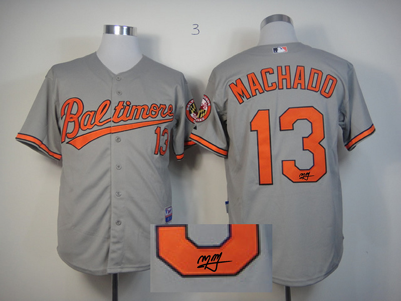 Orioles 13 Machado Grey Signature Edition Jerseys
