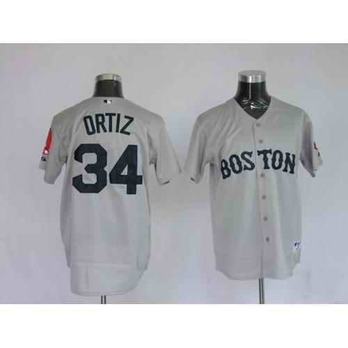 Red Sox 34 David Ortiz Grey Jerseys