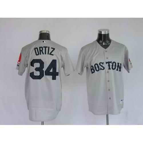 Red Sox 34 David Ortiz Grey Jerseys