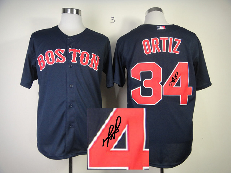 Red Sox 34 Ortiz Blue Signature Edition Jerseys