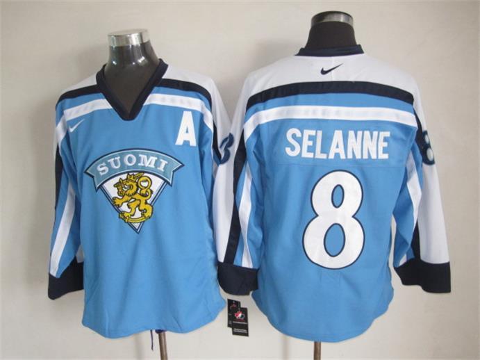 Finland 8 Selanne Blue Nike Jersey