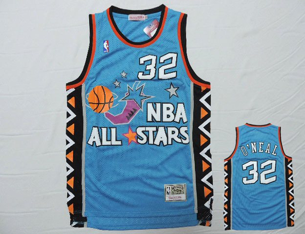 1996 All Star 32 Shaquille O'Neal Teal Hardwood Classics Jersey