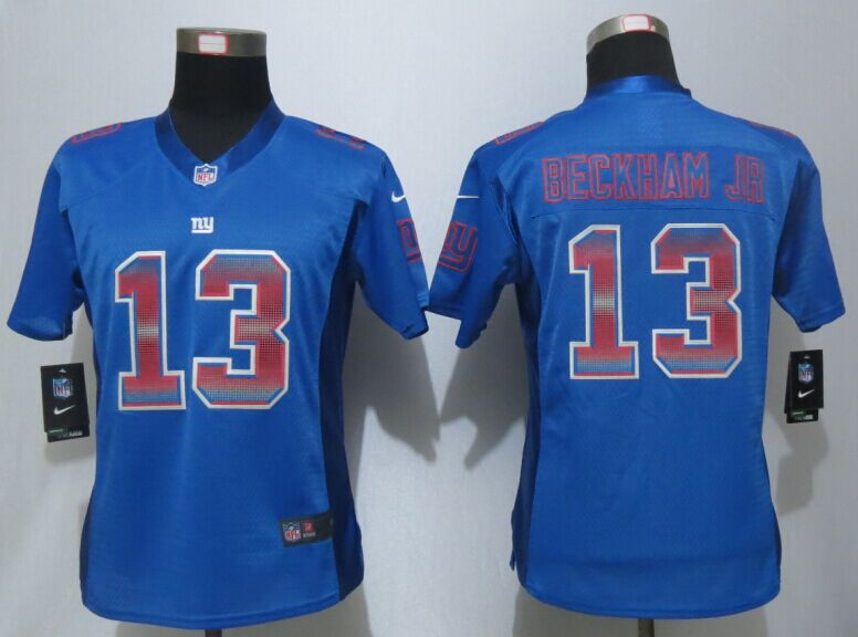 Nike Giants 13 Odell Beckham Jr Blue Pro Line Fashion Strobe Women Jersey