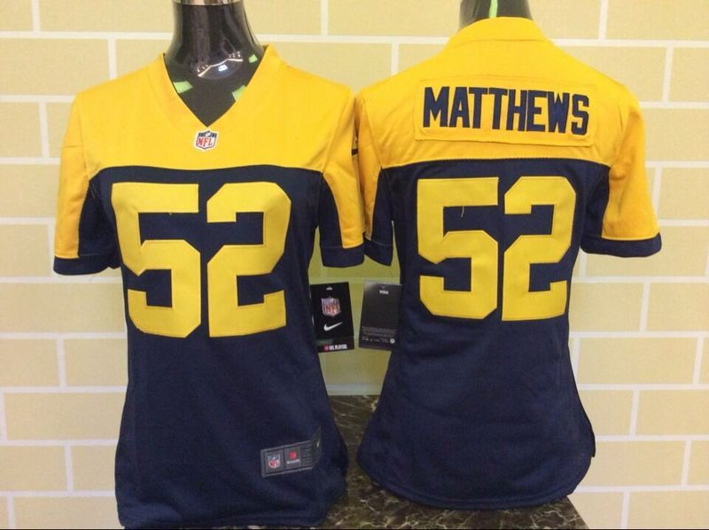 Nike Packers 52 Clay Matthew Navy Blue Alternate Women Game Jersey